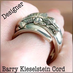 """Designer """"Diamond Eyes"""" Alligator Motif 925 Ring"""
